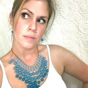 - Blue Beaded BiB Style Necklace&Earrings